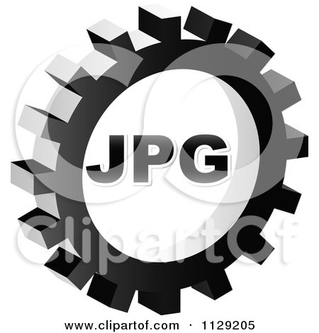 Clipart Of A Grayscale JPG Gear Cog Icon - Royalty Free Vector Illustration by Andrei Marincas