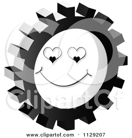 Clipart Of A Grayscale Love Face Gear Cog Icon - Royalty Free Vector Illustration by Andrei Marincas