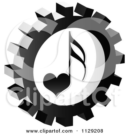 Clipart Of A Grayscale Love Music Note Gear Cog Icon - Royalty Free Vector Illustration by Andrei Marincas