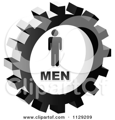 Clipart Of A Grayscale Men Gear Cog Icon - Royalty Free Vector Illustration by Andrei Marincas