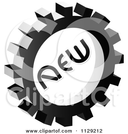 Clipart Of A Grayscale New Gear Cog Icon - Royalty Free Vector Illustration by Andrei Marincas