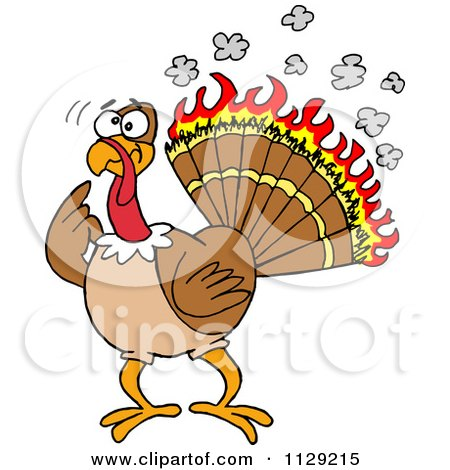 Cartoon Of A Confused Thankgiving Turkey Bird With Burning Feathers - Royalty Free Vector Clipart by LaffToon