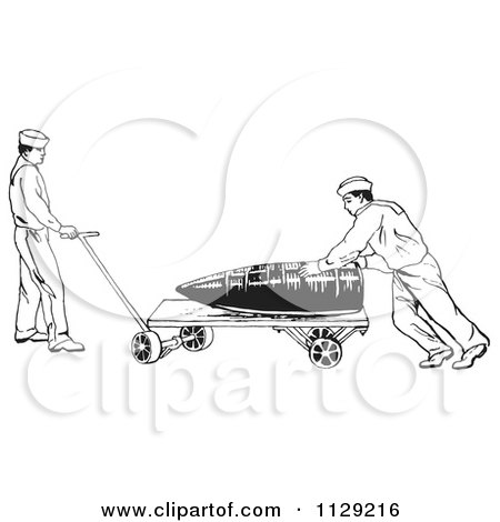 Clipart Of Retro In U.S. Navy Sailors Hauling A Large Shell Black And White - Royalty Free Vector Illustration by Picsburg