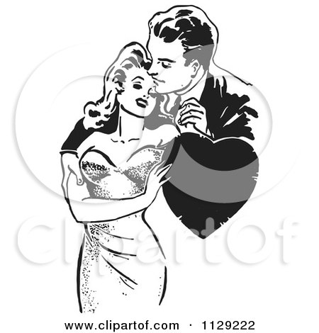 Clipart Of A Retro Man And Woman Romanticly Embracing With A Heart In Black And White Royalty Free Vector Illustration