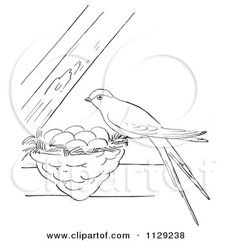 Cartoon Clipart Of An Outlined Swallow On Its Nest Between Beams - Black And White Vector Coloring Page by Picsburg