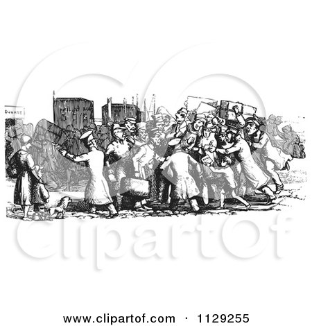 Clipart Of Retro Vintage Travelers Surrounded By Locals Wanting To Offer Services In Black And White - Royalty Free Vector Illustration by Picsburg
