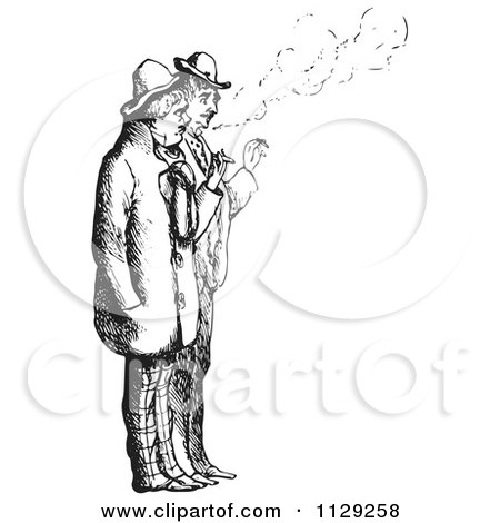 Clipart Of Retro Vintage Men Smoking Cigarettes In Black And White - Royalty Free Vector Illustration by Picsburg