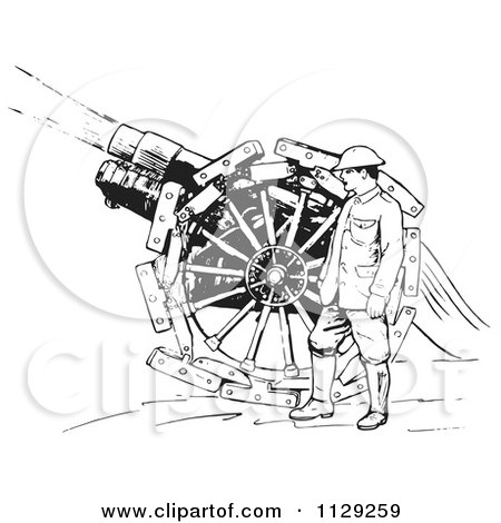 Clipart Of A Retro Navy Sailor With A Siege Gun In Black And White - Royalty Free Vector Illustration by Picsburg