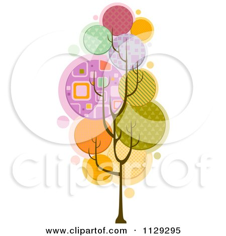 Cartoon Of A Funky Tree With Abstract Foliage - Royalty Free Vector Clipart by BNP Design Studio