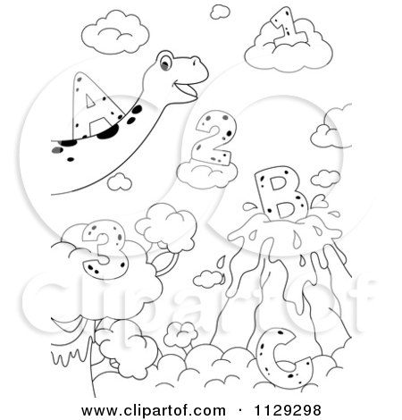 Cartoon Of Outlined Dinosaurs With Letters And Numbers 1 - Royalty Free Vector Clipart by BNP Design Studio