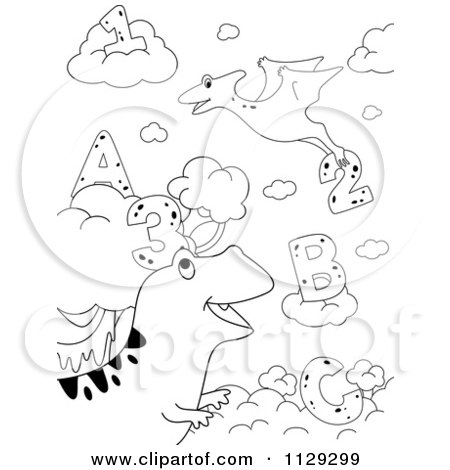 Cartoon Of Outlined Dinosaurs With Letters And Numbers 2 - Royalty Free Vector Clipart by BNP Design Studio