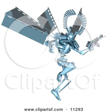 Blue Manga Style Robot Jumping And Holding A Laser Gun Clipart Picture