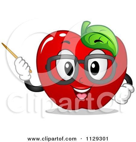 Cartoon Of An Apple Teacher Mascot Using A Pointer Stick - Royalty Free Vector Clipart by BNP Design Studio