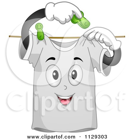 Cartoon Of A Happy Shirt Mascot Hanging Itself On A Line - Royalty Free Vector Clipart by BNP Design Studio