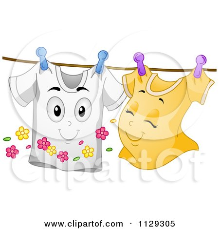 Cartoon Of Happy Shirt Mascots Together On A Clothesline - Royalty Free Vector Clipart by BNP Design Studio