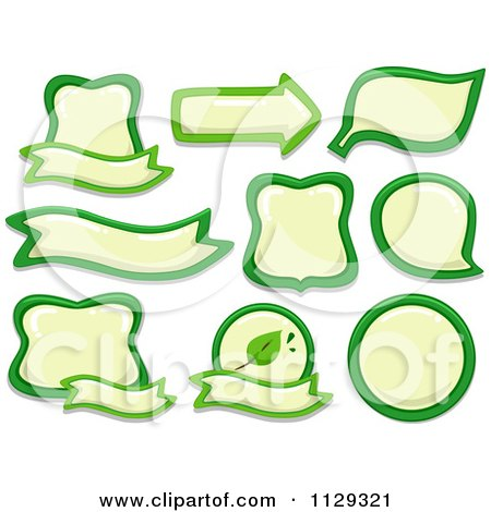 Cartoon Of Green And Yellow Eco Labels - Royalty Free Vector Clipart by BNP Design Studio