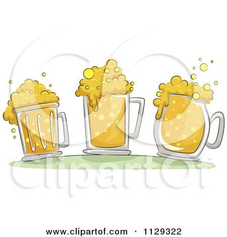 Cartoon Of Three Beer Mugs With Froth - Royalty Free Vector Clipart by BNP Design Studio