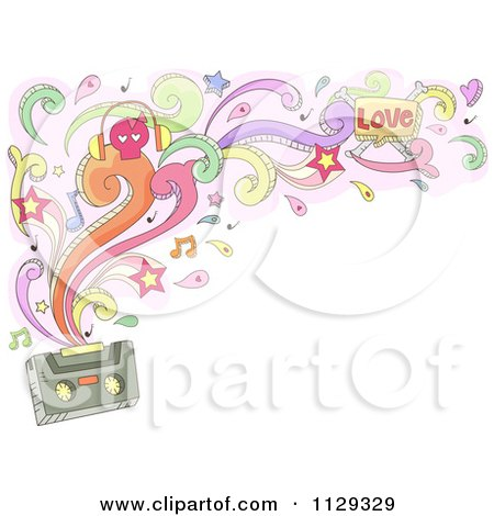 Cartoon Of A Doodled Cassette Tape With Swirls Splashes Notes And Stars - Royalty Free Vector Clipart by BNP Design Studio