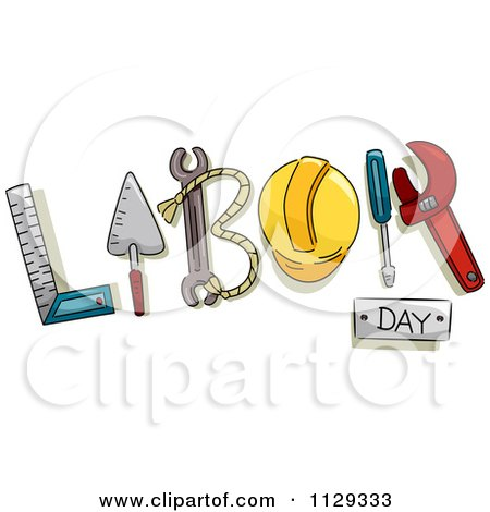 Cartoon Of Labor Day Text And Tools 2 - Royalty Free Vector Clipart by BNP Design Studio