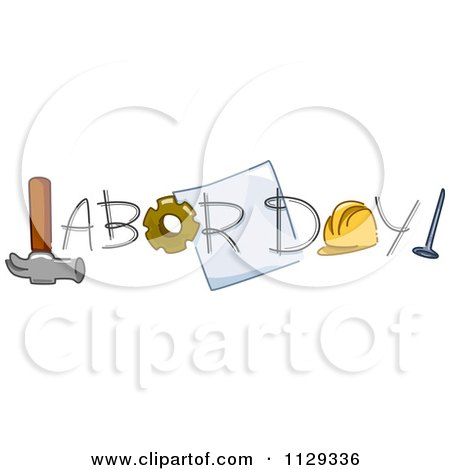 Cartoon Of Labor Day Text And Tools 1 - Royalty Free Vector Clipart by BNP Design Studio