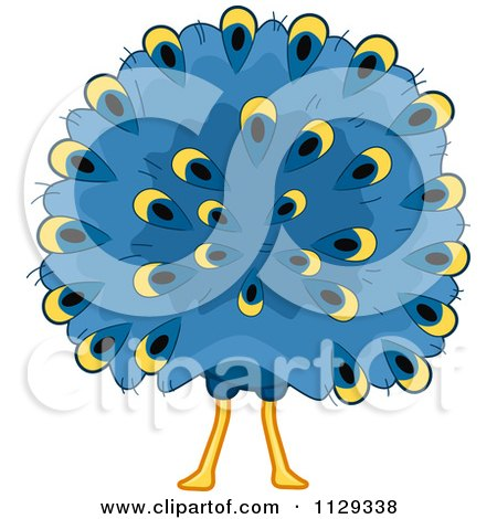 Cartoon Of A Peacock Behind - Royalty Free Vector Clipart by BNP Design Studio