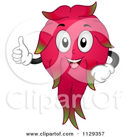 Cartoon Of A Dragon Fruit Mascot Holding A Thumb Up - Royalty Free Vector Clipart by BNP Design Studio
