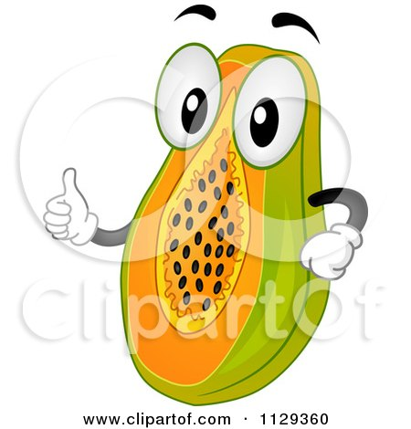 Cartoon Of A Papaya Mascot Holding A Thumb Up - Royalty Free Vector Clipart by BNP Design Studio