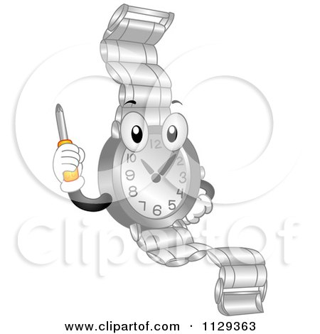 Cartoon Of A Watch Mascot Holding Up A Repair Screwdriver - Royalty Free Vector Clipart by BNP Design Studio
