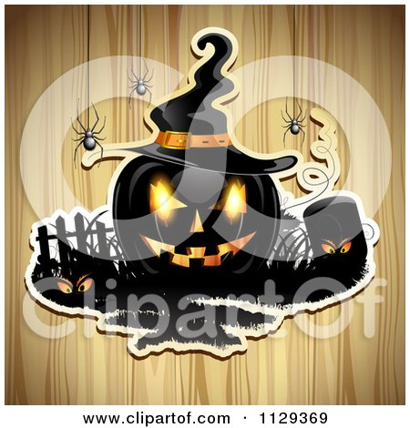 Clipart Of A Halloween Jackolantern Pumpkin And Tombstone With Eyes And Spiders Over Wood 3 - Royalty Free Vector Illustration by merlinul
