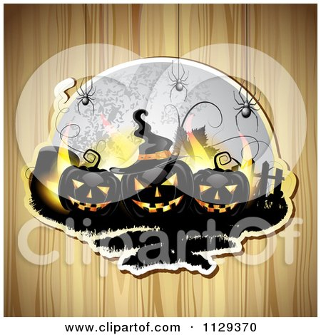 Clipart Of Black Halloween Jackolantern Pumpkins And Tombstones With Spiders And A Full Moon Over Wood - Royalty Free Vector Illustration by merlinul