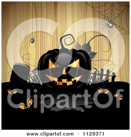Clipart Of A Halloween Jackolantern Pumpkin And Tombstone With Eyes And Spiders Over Wood 1 - Royalty Free Vector Illustration by merlinul