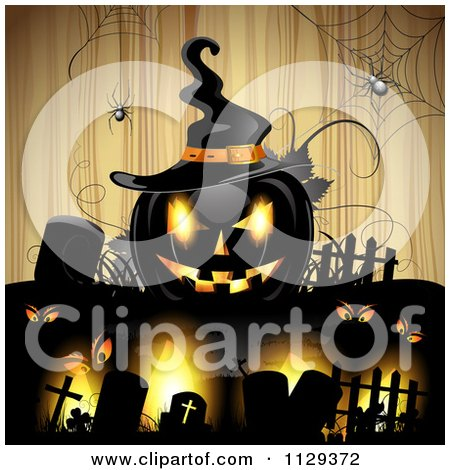 Clipart Of A Halloween Jackolantern Pumpkin And Tombstones With Eyes And Spiders Over Wood - Royalty Free Vector Illustration by merlinul