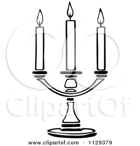 Clipart Vintage Black And White Candlestick Royalty Free Vector