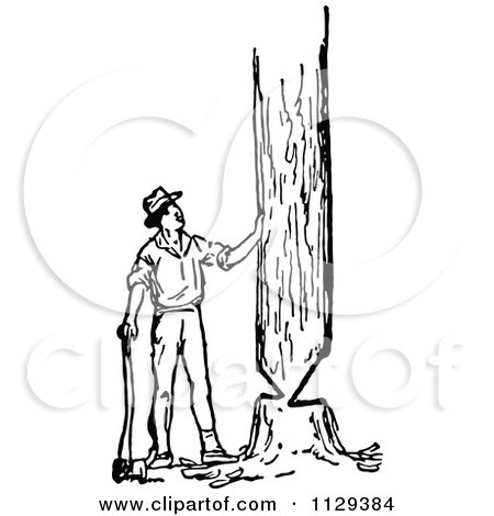 Clipart Of A Retro Vintage Black And White Lumberjack Man Cutting Down A Tree - Royalty Free Vector Illustration by Prawny Vintage