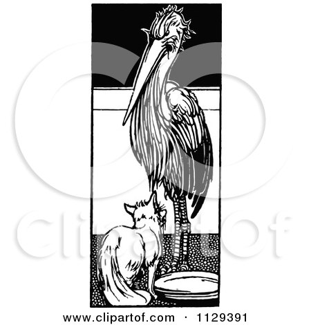 Clipart Of A Retro Vintage Black And White Fox And A Stork - Royalty Free Vector Illustration by Prawny Vintage