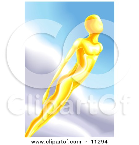 Golden Human Like Being Flying Through The Sky Clipart Illustration