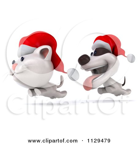 Clipart Of A 3d Christmas Jack Russell Terrier Dog Chasing A Cat 2 - Royalty Free CGI Illustration by Julos