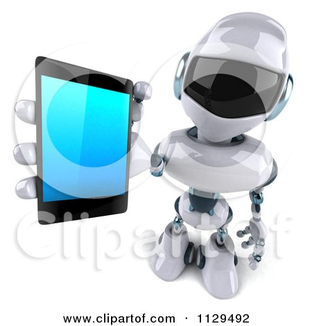 Clipart Of A 3d Techno Robot Holding A Cell Phone 3 - Royalty Free CGI Illustration by Julos