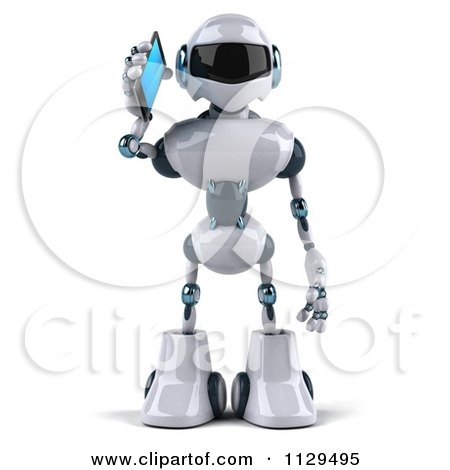 Clipart Of A 3d Techno Robot Holding A Cell Phone 1 - Royalty Free CGI Illustration by Julos