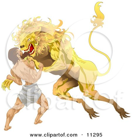 Hercules Wrestling the Nemean Lion During His First Task Clipart Illustration by AtStockIllustration