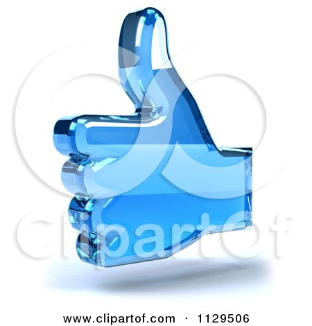 Clipart Of A 3d Blue Glass Thumb Up Icon - Royalty Free CGI Illustration by Julos