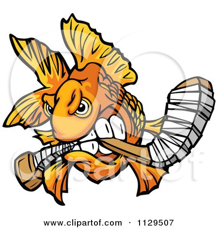 Cartoon Of An Aggressive Goldfish Biting A Hockey Stick - Royalty Free Vector Clipart by Chromaco