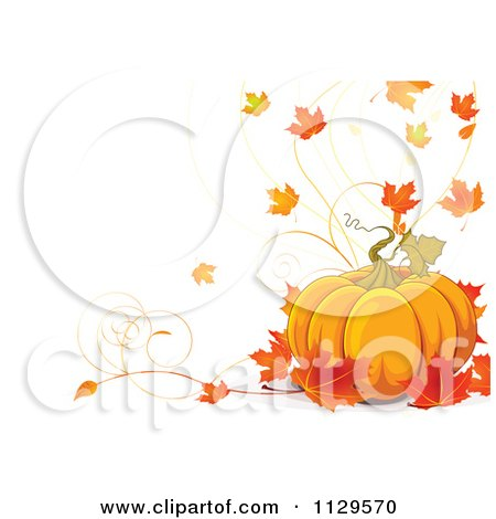 Cartoon Of A Thanksgiving Pumpkin And Autumn Leaf Background On Off White - Royalty Free Vector Clipart by Pushkin
