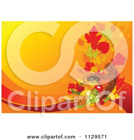 Cartoon Of A Horn Of Plenty Cornucopia Thanksgiving Background With Orange Copyspace - Royalty Free Vector Clipart by Pushkin