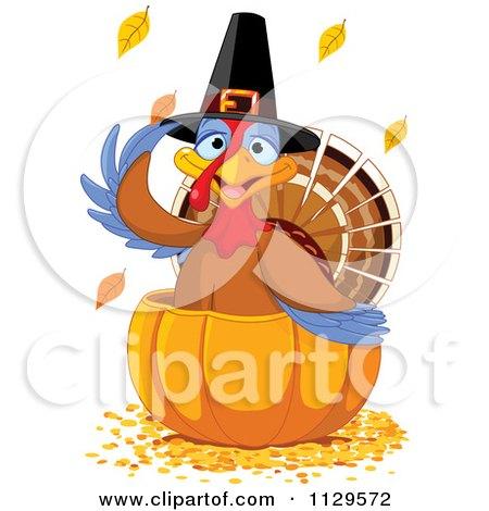 Cartoon Of A Cute Thanksgiving Turkey Bird Pilgrim In A Pumpkin - Royalty Free Vector Clipart by Pushkin