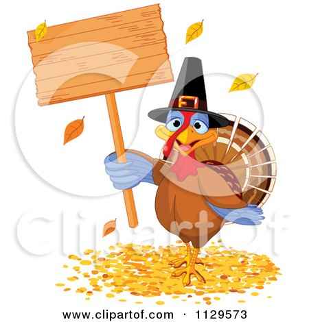 Cartoon Of A Cute Thanksgiving Turkey Bird Pilgrim Holding A Sign - Royalty Free Vector Clipart by Pushkin