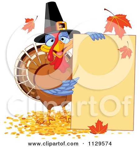 Cartoon Of A Cute Thanksgiving Turkey Bird Pilgrim Presenting A Sign - Royalty Free Vector Clipart by Pushkin