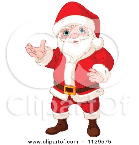 Cartoon Of A Christmas Santa Presenting - Royalty Free Vector Clipart by Pushkin