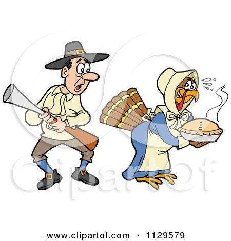 Cartoon Of A Thanksgiving Turkey Bird Disguised As A Pilgrim Shocking A Man - Royalty Free Vector Clipart by LaffToon