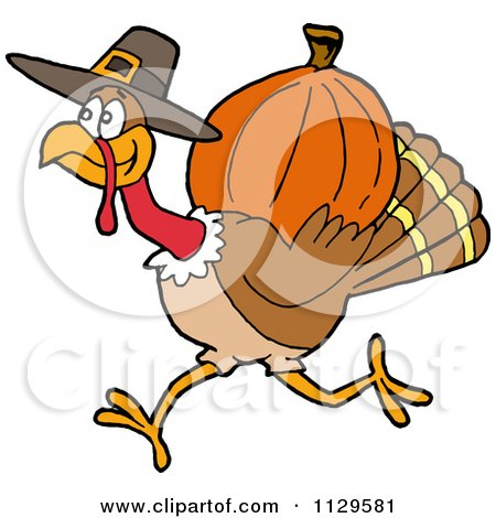 Cartoon Of A Thanksgiving Pilgrim Turkey Running With A Pumpkin - Royalty Free Vector Clipart by LaffToon
